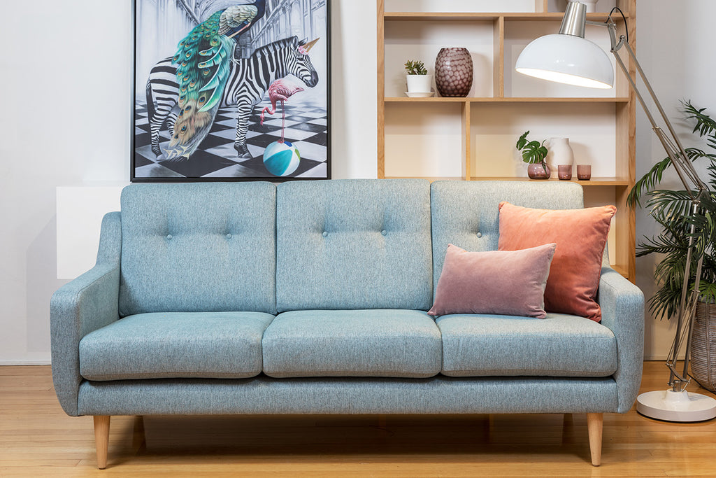 Evelyn Retro Fabric & Leather Couch