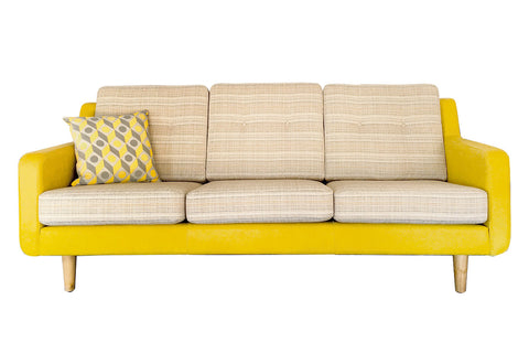 Evelyn Mid-century Retro Fabric & Leather Couch Sofa