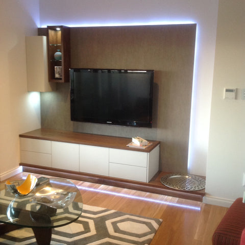 Veventi Wallsystem in Walnut Timber & Lacquer - Custom Installation with LED Lighting