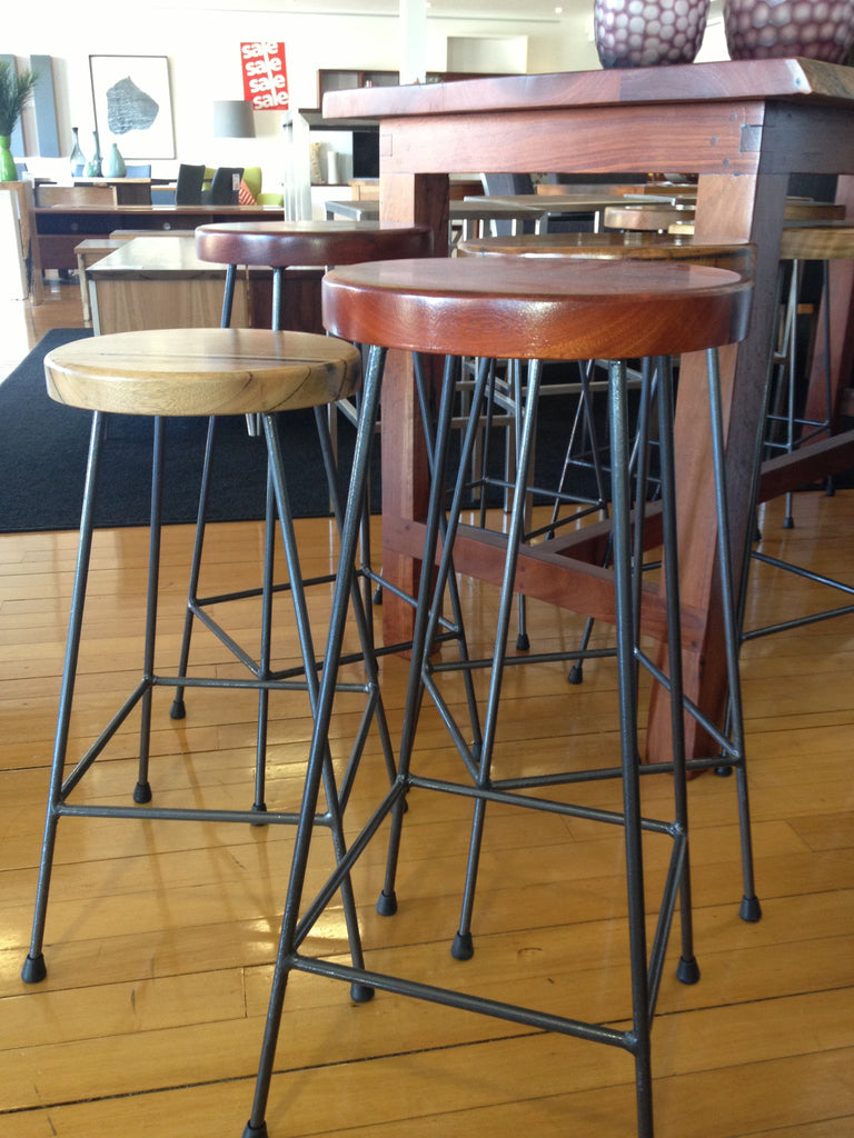 Industrial Marri or Jarrah Bar Stool with Iron Legs, Nedlands, Perth, WA