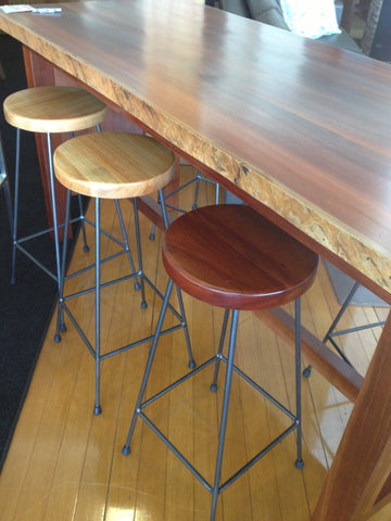 WA Made Industrial Marri or Jarrah Bar Stool with Solid Iron Legs
