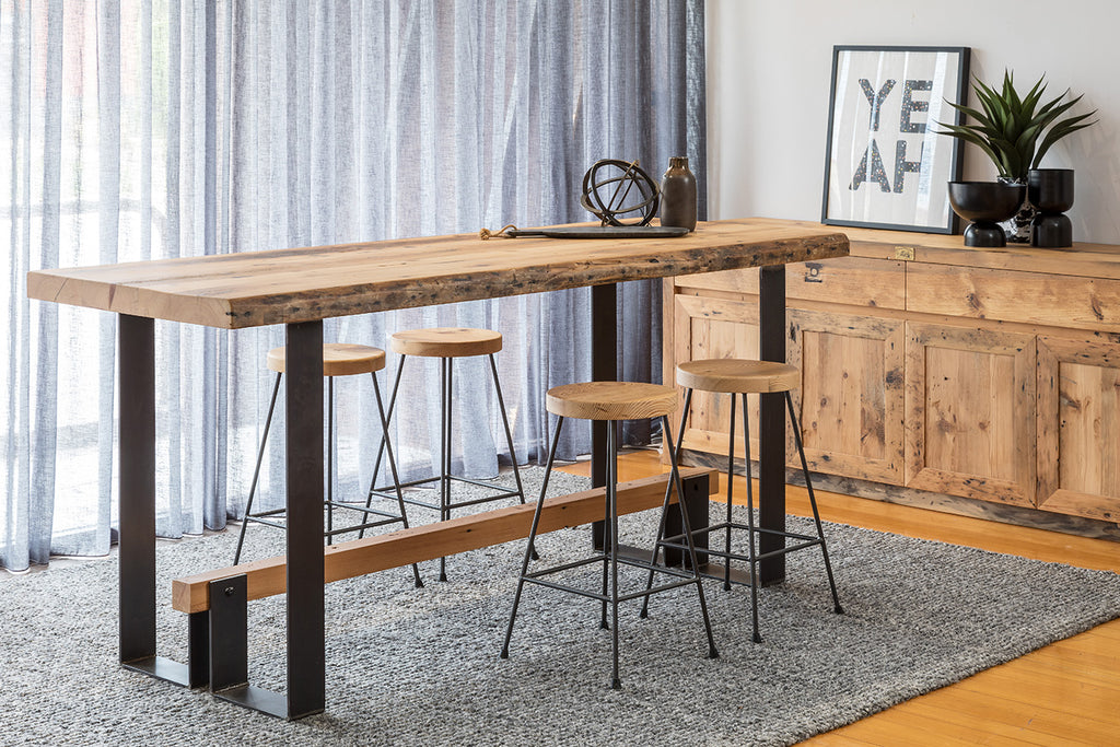 Fremantle Recycled Oregon Timber Bar Table with Iron Base and Foot Rail