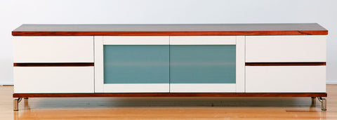 Milan Custom Jarrah Lowline TV Unit with white lacquer front