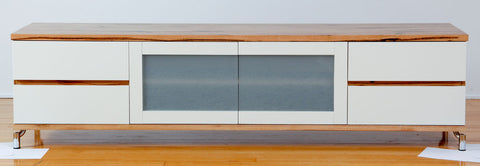 Milan Custom Marri Lowline TV Unit with white lacquer front