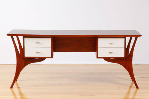 Hans Solid Jarrah Timber Writing Desk with white lacquer drawer fronts
