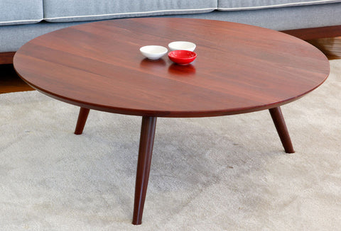 Round Retro Jarrah or Marri Coffee Table, tapered, angled legs