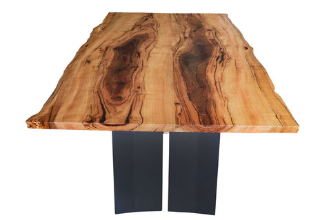 Blackwood Natural Edge Marri Dining Table with Rustic Steel Refectory Base, Nedlands, Perth, WA