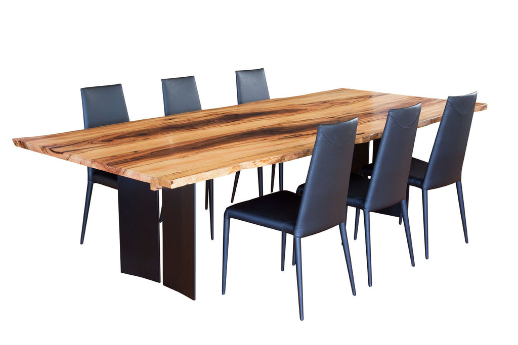Blackwood Natural Edge Marri Dining Table with Steel Refectory Base, with Italian made leather dining chairs