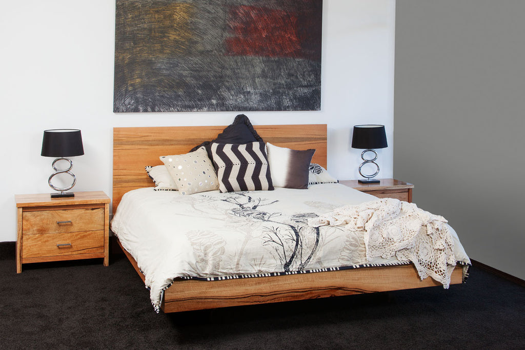 WA Made Milan Marri or Jarrah Timber Contemporary Floating Bed & Bedroom Suite