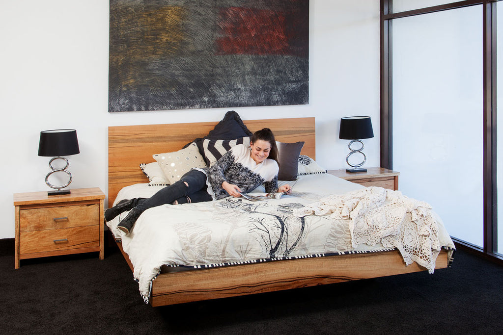 WA Made Milan Marri or Jarrah Timber Contemporary Floating Bed