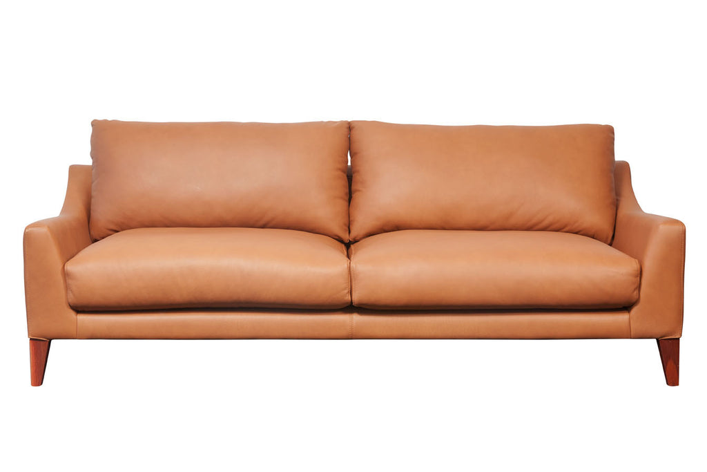 Oscar Comfortable three seater ultimo leather tan couch, Perth WA