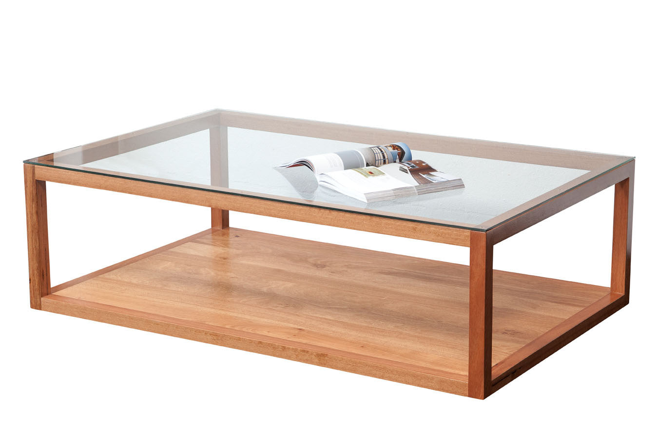 Wa made bailey blackbutt coffee table with glass top for Coffee tables glass top