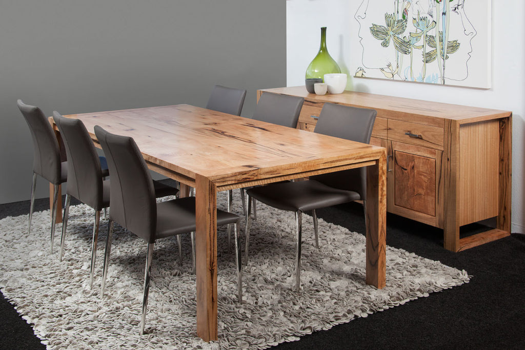 Riverside Marri Dining Suite featuring solid timber table & buffet, leather upholstered dining chairs shown