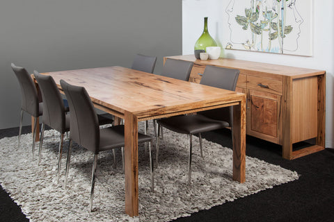 Riverside Marri Dining Suite Featuring Solid Timber Table Buffet Leather Upholstered Chairs Shown