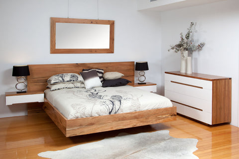 Platform Marri & Lacquer Front Bedroom Suite, King size bed, floating bedside tables, chest of drawers, marri framed mirror