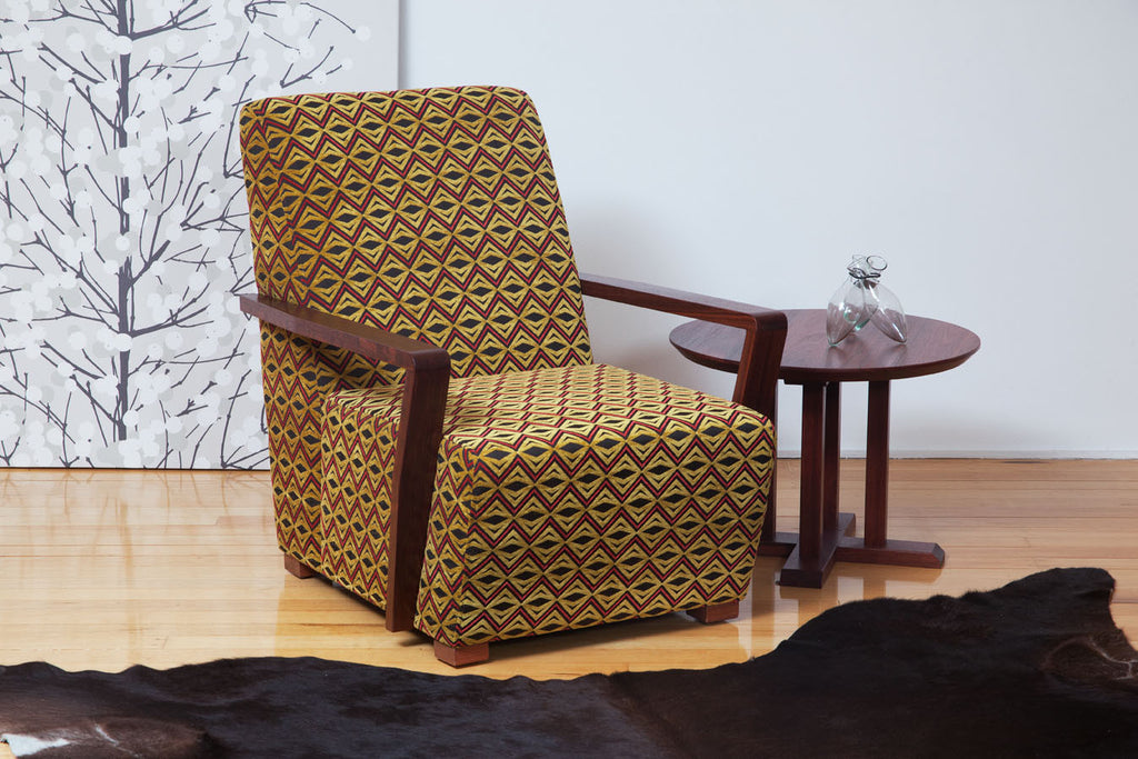 The Retro Fifties Chair with Jarrah Timber Arms in a groovy retro fabric!
