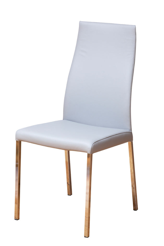 Fully Upholstered White Leather Dining Chairs with Steel Base Perth, WA