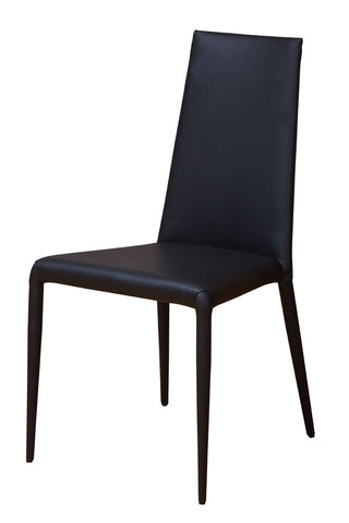 Fully Upholstered Black Leather Dining Chairs with Steel Base Perth, WA