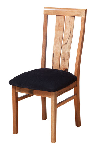 Manta Marri Dining Chair, leather upholstery, two slat back