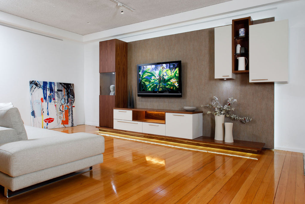 Veventi Wallsystem in Walnut Timber & Lacquer - Custom Wall Unit, Perth, WA