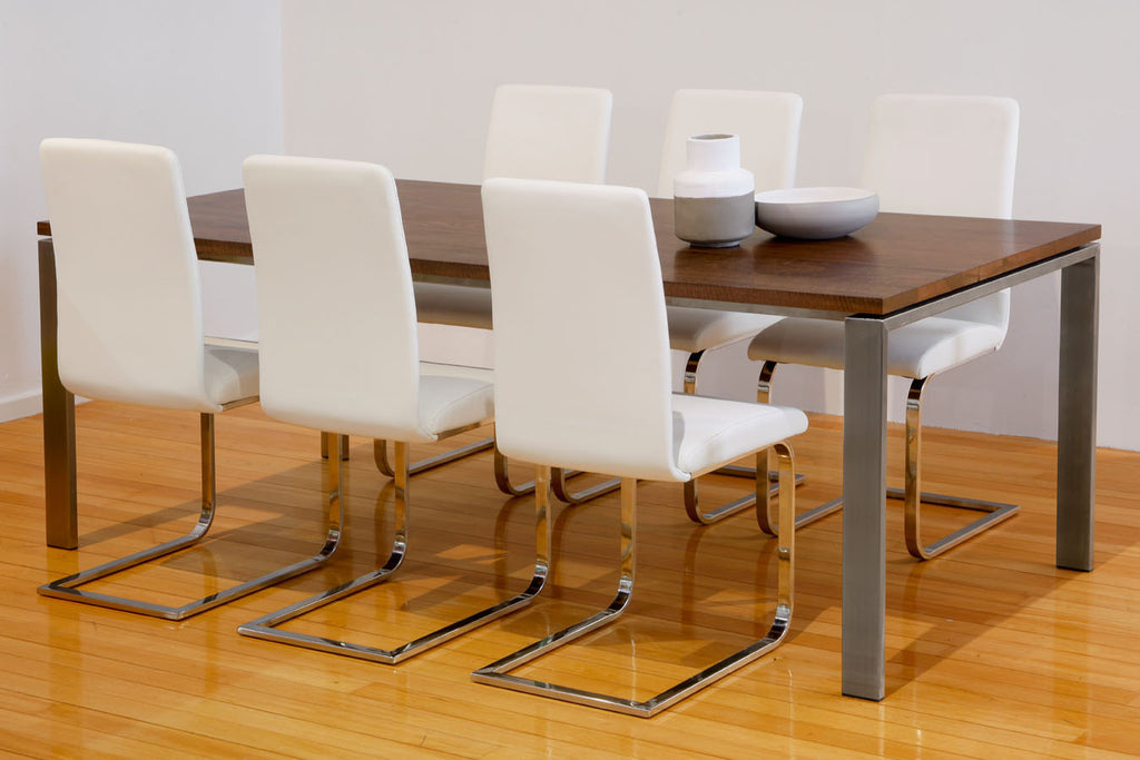Nuovo Walnut stained Marri Dining Table with Stainless Steel Base, Italian leather dining chairs