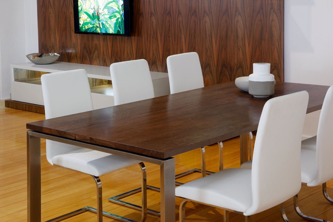 Nuovo Walnut Stained Marri Dining Table With Stainless Steel Base Italian Leather Chairs