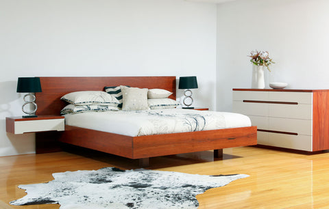 Platform Jarrah & Lacquer Front Bedroom Suite, King size bed, floating bedside tables, chest of drawers