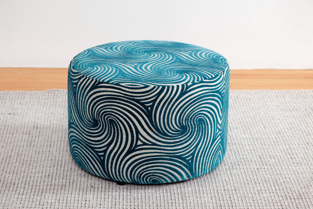 Oreo Large Round Ottoman upholstered in blue swirls