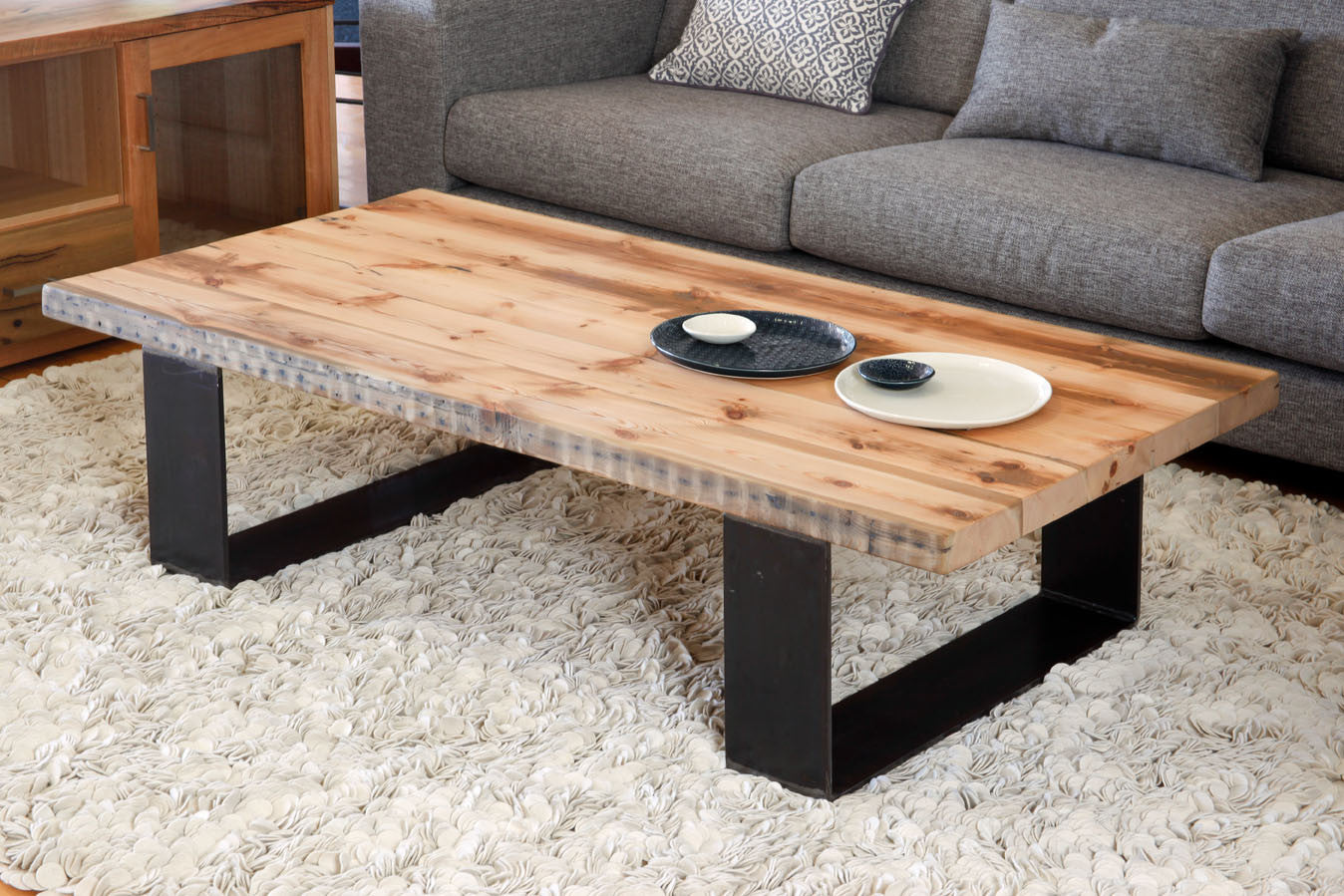 Recycled baltic timber dining tables with steel base for Timber coffee table