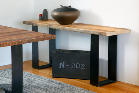 Plaistow Recycled Baltic Pine Industrial Design Hall Table with Steel Base