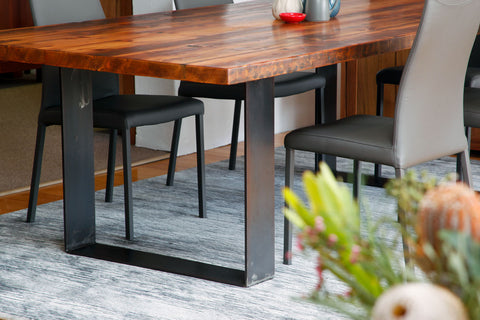 Plaistow Recycled Baltic Pine Industrial Design Dining Table with Steel Base Leg Detail