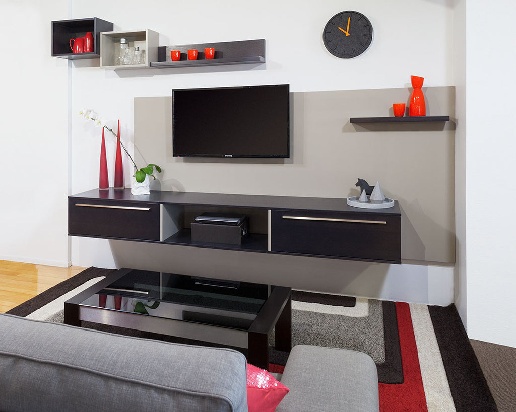 Contemporary Custom Apartment Floating Lacquer & Timber TV Wall Unit