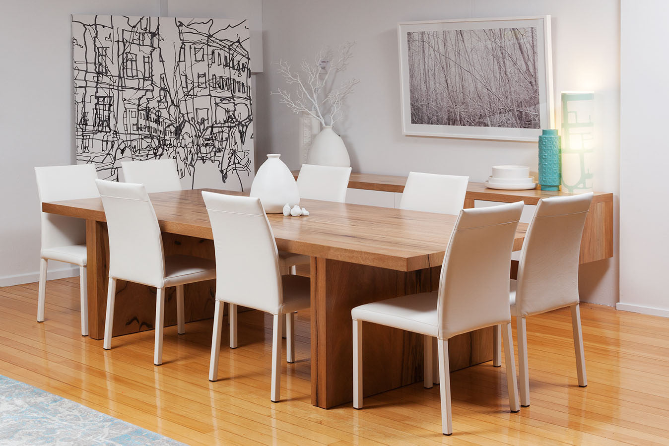 """The """"Edge"""" Solid Marri Timber Dining Table & Buffet"""