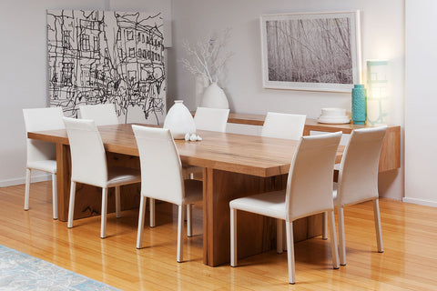 "The ""Edge"" Solid Marri Dining Table and Italian white leather dining chairs"