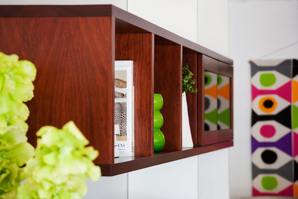 Bespoke Custom Living Room Wall Unit in Jarrah & White Lacquer
