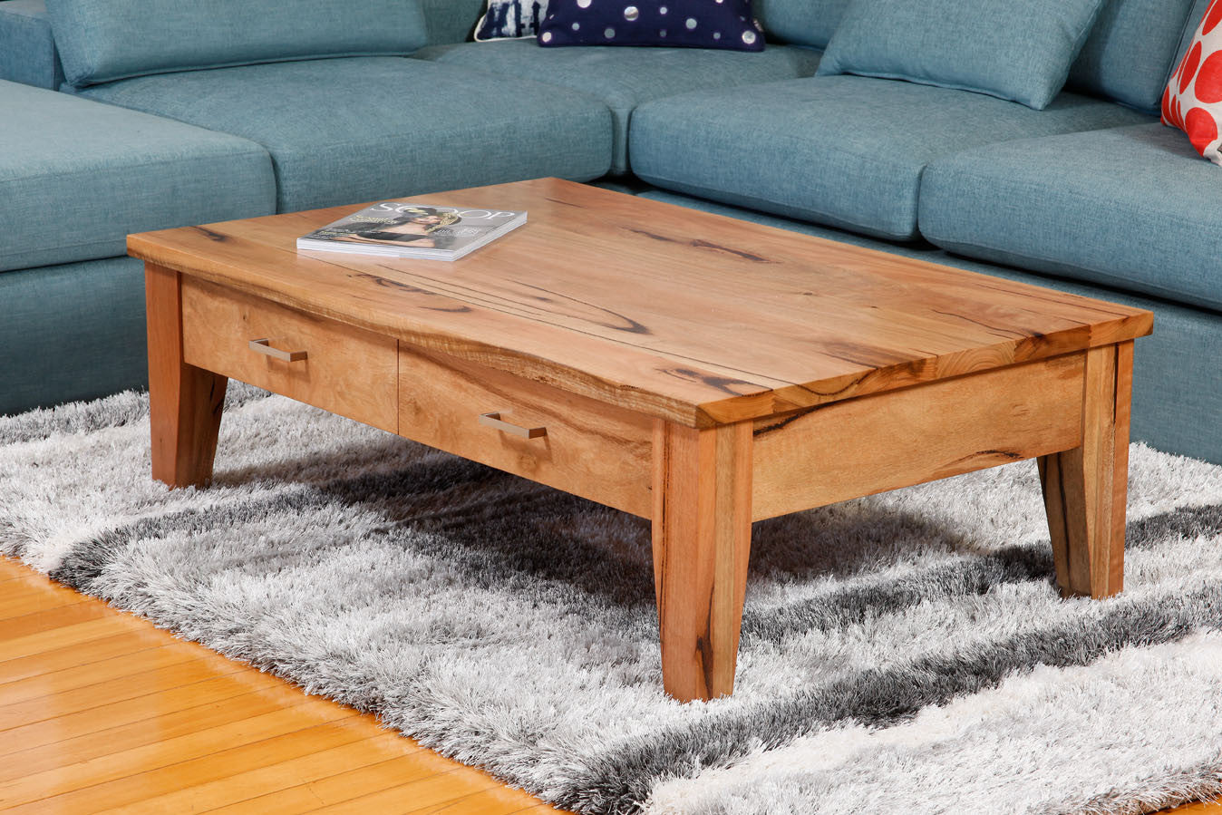 Two Drawer Solid Marri Or Jarrah Timber Coffee Table Bespoke Furniture Gallery Perth