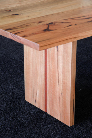Dwellingup WA Made Designer Marri Table With Jarrah Stringer detail on slab base
