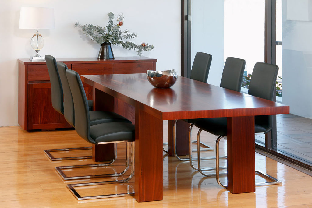 Gallows Contemporary Solid Jarrah, Engineered Dining Table