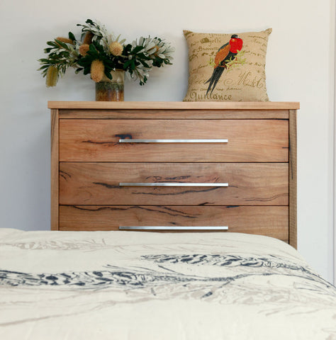 Boranup Solid Marri Bedroom Furniture Suite - Chest of Drawers with Brushed Aluminium Handles, Perth, WA