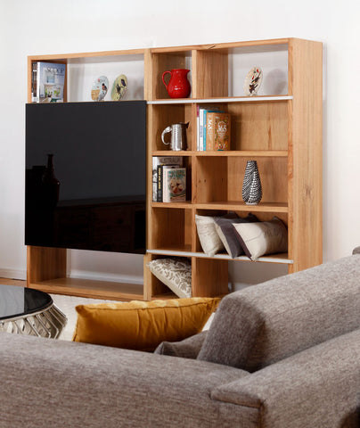 Solid Marri Apartment Custom Wall Shelving System