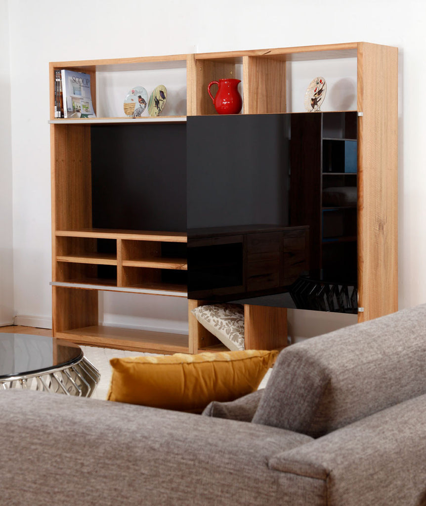 Solid Marri Apartment Custom Wall Shelving System & TV Unit