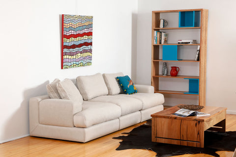 The Chubby Four Seater Couch in white microfabric, built for comfort, customisable, Perth WA