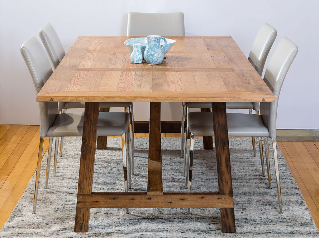 Market Recycled Oregon Timber Dining Table with Iron Base and Foot Rail