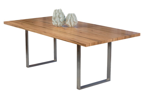 Mondo Marri  and Jarrah Dining Table with Stainless Steel Base