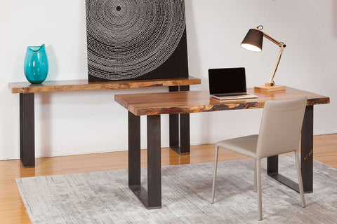 "Natural Edge Marri Timber Desk and Console Table, industrial black steel base and thick ""natural wood edge"" top, Made in WA"