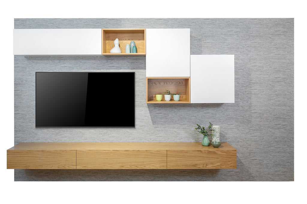 Neo Floating American Oak Vaneer Wall System