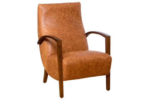 Pelle High Back Vintage Leather Retro Mid Century Inspired Lounge Occasional Chair