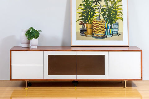 QT Solid Jarrah and Lacquer WA Made Lowline TV Unit.