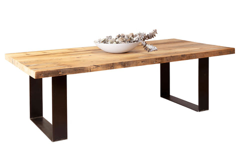 Plaistow Recycled Baltic Pine Timber Dining Table with Natural Industrial Steel Base
