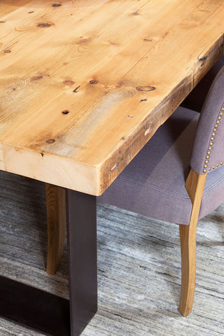 Bespoke Furniture Custom Plaistowe Recycled Baltic Pine Timber Dining Table with Industrial Steel Base Edge Detail